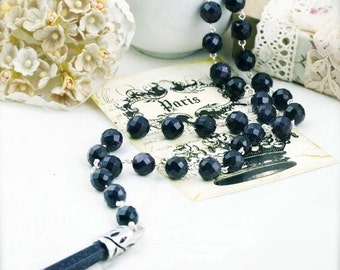 Starry night rosary glass necklace - goldstone