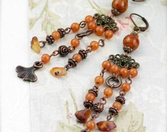 Tangerine chandelier earrings - fossil, aventurine and carnelian