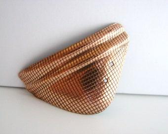 SALE- Vintage 80s geometric copper  triangle brooch