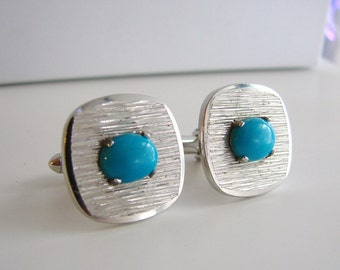 VIntage silver and turquoise blue square cuff links
