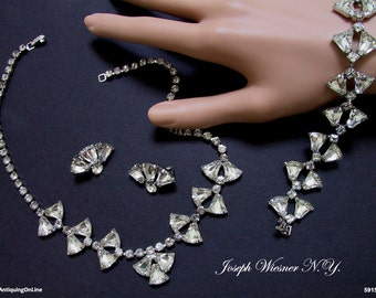 Vintage Wedding Jewelry Set Wiesner Clear Rhinestone Necklace Bracelet Earrings 1950s