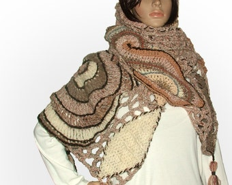 Freeform Crochet Shawl, Wrap, OOAK Wearable Art, Handspun yarn in Autumn Tones