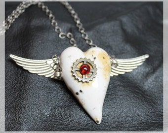 Handmade artisan satetment necklace My Heart Got Wings in modern, gothic, steampunk, grunge, artsy style, adjustable  - Free shipping