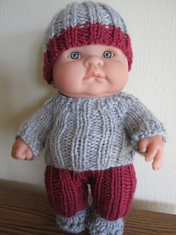 Knitting Patterns For Boy Dolls : Baby Doll Knit Instant Download Pattern Rib Sweater Set for 10