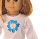 "white T shirt, American Girl 18"" doll clothes, long sleeves, blue yellow flower, casual wear, modern, hand painted, PattiKuz"