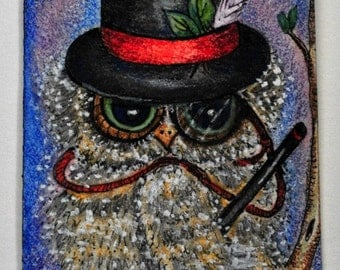 Artist Trading Card, art collectable illustration of cute whimsical owl dressed in a top hat and monocle.