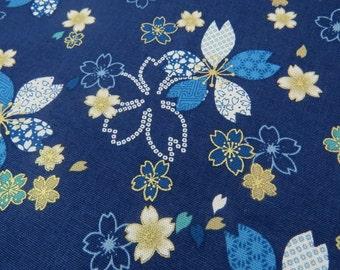 2524C - Pretty Sakura Flower with Gold Print Fabric in Dark Blue, Retro Sakura Flowers