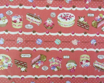 2528B - Sweet Cakes Fabric in Feded Red, Japanese Cotton, Cosmo Textile