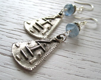 Tribal Oxidized Silver Charms and Kyanite Earrings