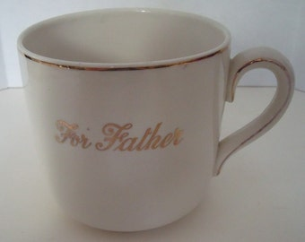 1940s Porcelain Mug -For Father-  4 in. high Nelson Ware Made in England