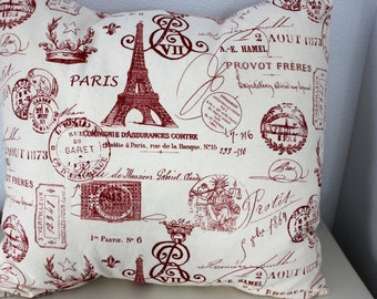 French Pillow Cover - Red and Natural Paris Print