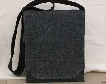 Blue Black Linen Messenger Bag