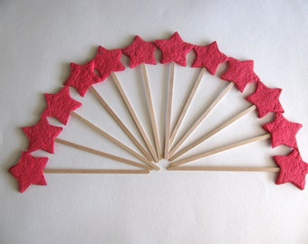 Birthday party favor - Red plantable paper stars on a wand - Magic wand for fairy princess or magic theme party