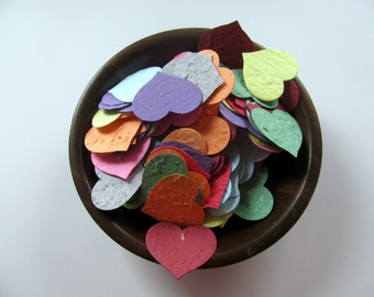 Heart Confetti  Plantable Paper  Rainbow Assortment  Wildflower Seed Mix