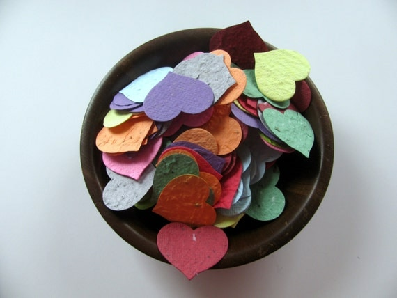 Heart Confetti  Plantable Paper  Rainbow Assortment  Wildflower Seed Mix