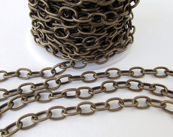 Antiqued Brass Ox Chain Cable Textured Oval Open Links TierraCast 9x6mm chn0151 (1 foot)