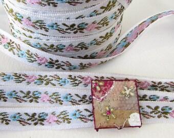 Vintage Ribbon Trim Woven Jacquard Ribbon Pink Flowers Blue White Japan rib0142 (2 yards)