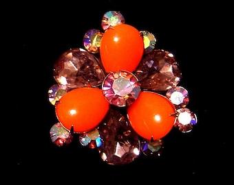Vintage lavender glass and burnt orange Brooch pin