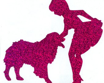 Australian Shepherd Dog and Pin Up Silhouette, Purple Glitter Vinyl Decal