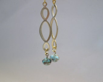 Infinity Loop Brass Gold Vintage Turquoise Drop Long Dangle Earrings
