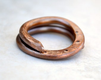 Rustic Hand Forged Copper Wire Wrap Ring Artisan