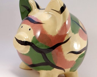 Green Camo Piggy Bank - Personalized Piggy Bank - Hunting Ceramic Bank - Military Piggy Bank - Army Bank - with hole or NO hole in bottom
