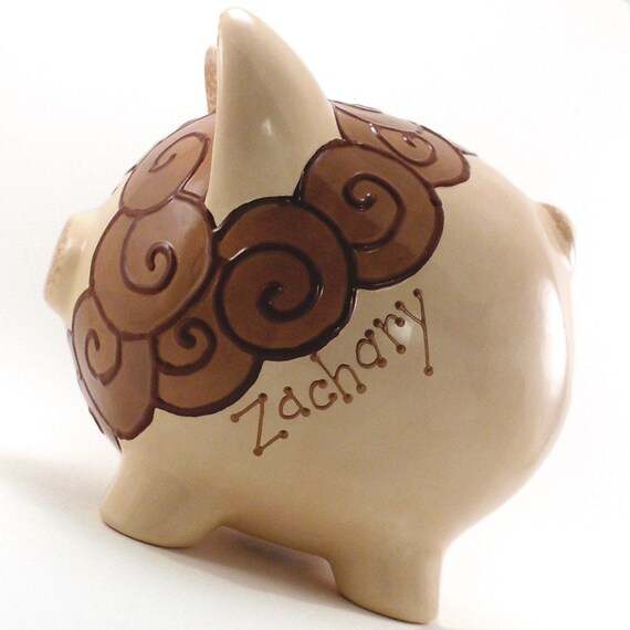 Lion Piggy Bank - Personalized Piggy Bank - Brown Lion Bank - Safari Bank - Jungle Theme - with hole or NO hole in bottom