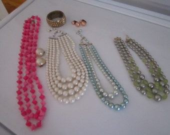 Jewelry - Misc Vintage- including Necklaces,Earrings, Expansion Bracelet  - 1960s