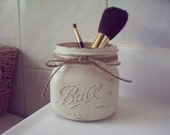 Painted and Distressed Elite Wide Mouth Mason Jar.Bathroom Decor. Rustic Decor. Painted Mason Jars. Cosmetic Holder.