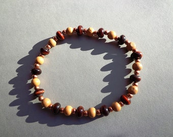 Bracelet Red Tiger Eye Gemstones with Wood and Copper Beads on Elastic Cord 8.5 Inches