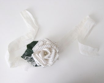 An Ivory Rose Book Page Wrist Corsage