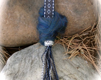 Card Woven Wrist Distaff for Spinning with Drop Spindle
