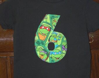 NINJA TURTLES 6th birthday party shirt ...  TMNT boys 6th birthday
