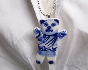 Teddy bear - Hand formed and hand painted porcelain Delft necklace