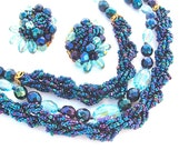 Multi Strand Necklace Earring Beaded Jewelry Set, Miriam Haskell STYLE Midnight Peacock Sky Blue Glass Bead Demi Parure
