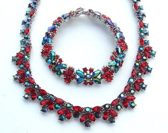 TRIFARI Party Ruby Red Rhinestone Bib Art Deco Style Necklace Earrings Navy Black Aurora Borealis Designer Jewelry Set