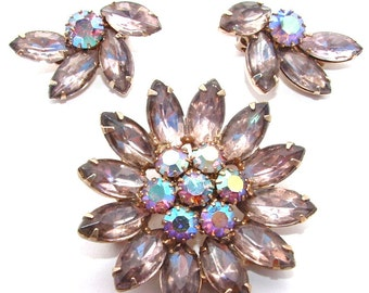 Vintage Rhinestone Jewelry Set Pastel Lavender Amethyst Brooch Clip Earrings Demi Parure