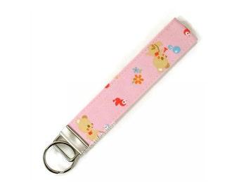 Pink Key Ring Key Fob Smile Bubble Bear Pastel Pink Retro Kitsch Keyring Birds Flowers Sweet Lolita Japanese Fabric Zakka