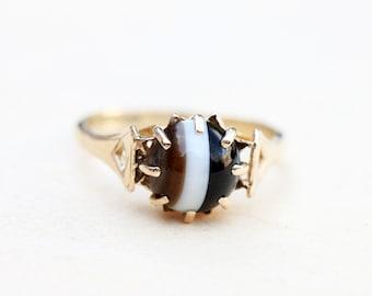 9K English Agate Ring - Size 6