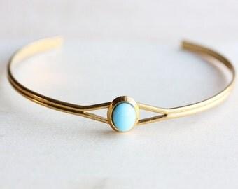 Turquoise Dot Bracelet, Turquoise Bracelet, Small Gold Cuff, Gold Cuff Bracelet, Blue Bracelet, Turquoise Cuff