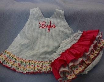 Baby Blue Sassy ruffle pinafore top with with polka dot ruffle   Sassy ruffle Bloomer or Long Sassy Ruffle Pants