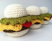 Crochet Play Food Amigurumi Crochet Cheeseburgers Plush Toys - Set of 3 Play Kitchen Plushie Cheeseburgers Stuffed Cheeseburgers Burgers