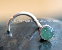 Aventurine Nose Stud Set in Sterling Silver -  CUSTOMIZE