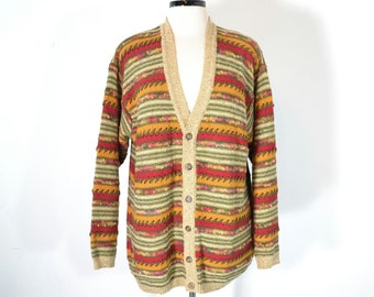 80s Vintage Oversize Sweater Slouchy Boyfriend Cardigan Cotton Sweater