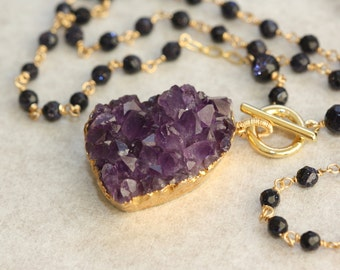 Amethyst Raw Natural Druzy Blue Goldstone, Gold Long Necklace, Birthday Gift for Wife, for Sister, Anniversary Gift, for Mom, Summer Trend