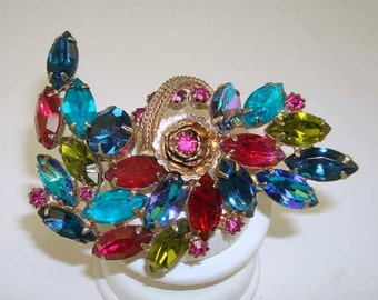 Vintage SCHRAGER Pin with Multi Color Rhinestones