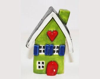 Little Clay House | Ceramic House | Miniature House | Whimsical house | Lime Green House | Clay House