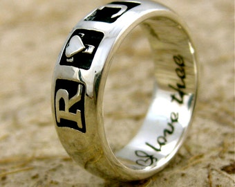 Handmade Romeo & Juliet Wedding or Anniversary Ring in Sterling Silver with 'I love thee...' or Custom Quote Engraving