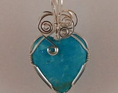 wire wrapped, Heart Pendant , Turquoise, Sterling Silver - P269