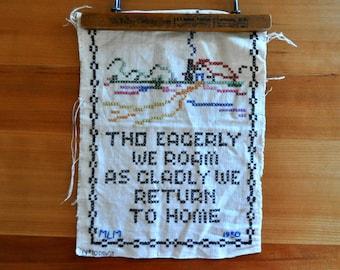 tho eagerly we roam 1930s stitching on linen